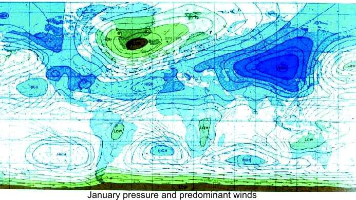 Predominant pressures and winds