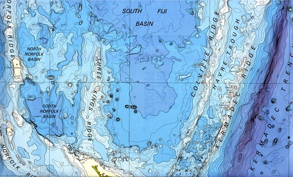 The topology of the sea floor north of NZ